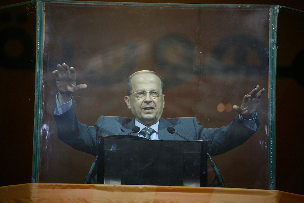 Former Lebanese General Michel Aoun's Free Patriotic Movement held a rally in Beirut just eight days before parliamentary elections. The 7 June elections are expected to be highly contested, with the governing pro-American March 14 coalition facing pressure from the Hizballah-led March 8 opposition, which Aoun's Free Patriotic Movement is a member of. The rally focused on Lebanon's Metn district just north of Beirut. Metn is expected to be one of the closest races between the Christian parties of both coalitions, as well as independent candidates. ///Free Patriotic Movement leader Michel Aoun quiets the crowd.