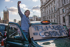 10 Feb 2016 - Black cabbies protest in Trafalgar Square, London.
