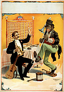Man seated holding horn with arm raised and African American playing trombone. [c1899] (poster) : lithograph