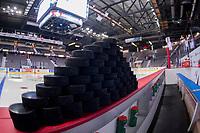 REGINA, SK - MAY 18: Hockey pucks at the Brandt Centre on May 18, 2018 in Regina, Canada. (Photo by Marissa Baecker/Shoot the Breeze)