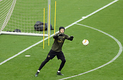 Arsenal goalkeeper Petr Cech during the training session at The Olympic Stadium, Baku.