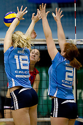 Jessica Hohl and Tjasa Turnsek in block during volleyball match between Calcit Volleyball and A. Linz-Steg in Mevza league on October 23, 2010 at Sport Halli, Kamnik, Slovenia. (Photo By Matic Klansek Velej / Sportida.com)