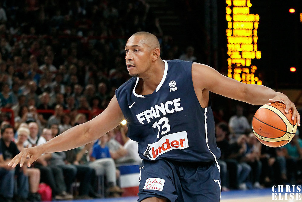 15 July 2012: Boris Diaw of Team France dribbles during a pre-Olympic exhibition game won 75-70 by Spain over France, at the Palais Omnisports de Paris Bercy, in Paris, France.
