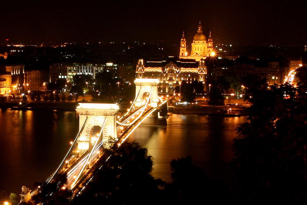 Széchenyi Chain Bridge (Lánchíd),  & St. Stephen's Basilica (Szent István-Bazilika), named for Stephen, the first King of Hungary (975–1038),  Budapest, Hungary