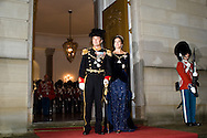 01.01.2016. Copenhagen, Denmark. <br /> Crown Princess Mary and Crown Prince Frederik&rsquo;s arrival to Amalienborg Palace for the traditional gala dinner with the Danish government officials, civil servants, and members/employees of the royal court. <br /> Photo: &copy; Ricardo Ramirez
