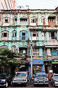 Colonial architecture in Yangon, Myanmar.
