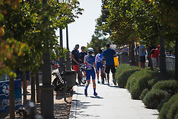 Coralie Demey (FRA) of FDJ Nouvelle Aquitaine Futuroscope Team walks to the start of Stage 1 of the Madrid Challenge - a 12.6 km team time trial, starting and finishing in Boadille del Monte on September 15, 2018, in Madrid, Spain. (Photo by Balint Hamvas/Velofocus.com)