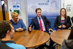 © Licensed to London News Pictures. 05/08/2014. CARDIFF, UK. Deputy Prime Minister Nick Clegg visiting British Gas in Cardiff to meet company's customer service apprentices and promote apprenticeships as British Gas announces 450 new work placements nationally on Tuesday, 05 August 2014. Photo credit : Tolga Akmen/LNP
