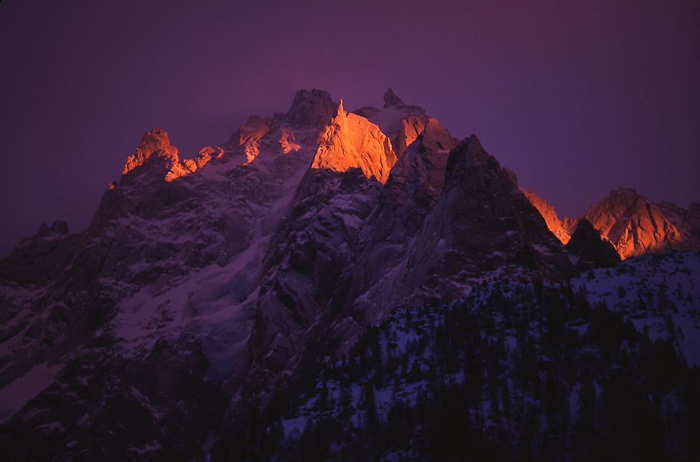 View of a mountain peaks at sunset, Chamonix, France