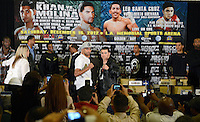 Dec 12,2012. Los Angeles CA. USA.. Amir Khan(L) poses with Carlos Molina(R.) during a Los Angeles press conference. The fight will be scene on ShowTime live from the Los Angeles Sports Arena Saturday  Dec 10th.  Photo by Gene Blevins/LA Daily News