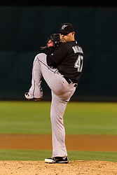 June 29, 2011; Oakland, CA, USA; Florida Marlins starting pitcher Ricky Nolasco (47) pitches against the Oakland Athletics during the seventh inning at the O.co Coliseum.  Florida defeated Oakland 3-0.