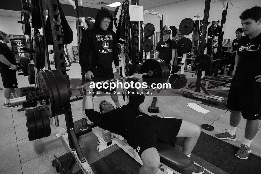 2015 October 15: Jack Harrington #21 of Duke Blue Devils during weightlifting at Duke University in Durham, NC.