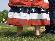 detail of a woman dressed in an American flag outfit