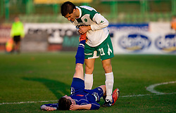 Jure Matjasic of Drava and Miroslav Cvijanovic of Olimpija  at 18th Round of PrvaLiga football match between NK Olimpija and NK Labod Drava, on November 21, 2009, in ZAK, Ljubljana, Slovenia. Olimpija defeated Drava 3:0. (Photo by Vid Ponikvar / Sportida)