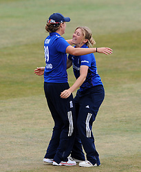 England's Heather Knight celebrates the wicket of Australia's Ellyse Perry. - Photo mandatory by-line: Harry Trump/JMP - Mobile: 07966 386802 - 21/07/15 - SPORT - CRICKET - Women's Ashes - Royal London ODI - England Women v Australia Women - The County Ground, Taunton, England.
