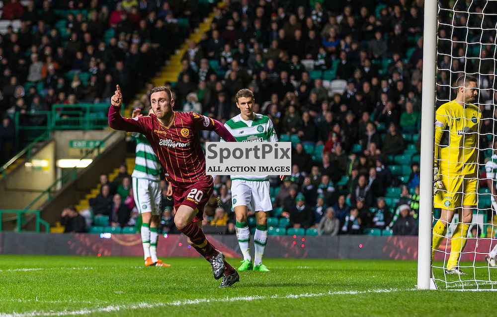 Louis Moult celebrates his goal aginst Celtic during the match between Celtic and Motherwell (c) ROSS EAGLESHAM | Sportpix.co.uk