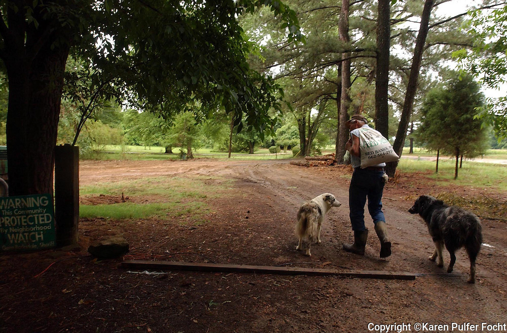 Peter Helwig, a traditional German farmer working his farm with his loyal dogs in Collierville, Tennessee.