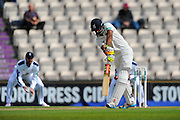 Warwickshire's batsman Varun Chopra is dismissed LBW off the bowling of Hampshire's Fidel Edwards during the Specsavers County Champ Div 1 match between Hampshire County Cricket Club and Warwickshire County Cricket Club at the Ageas Bowl, Southampton, United Kingdom on 12 April 2016. Photo by Graham Hunt.
