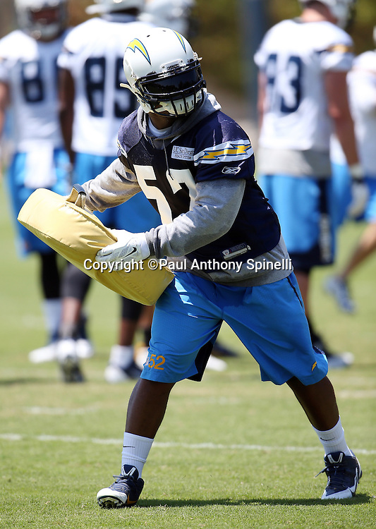 San Diego Chargers rookie linebacker Denzel Perryman (52) works a blocking bell during the San Diego Chargers Spring 2015 NFL minicamp practice on Wednesday, June 17, 2015 in San Diego. (©Paul Anthony Spinelli)