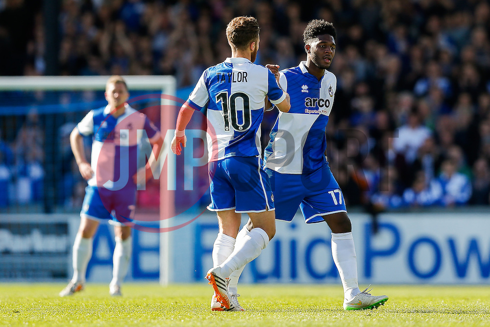 Goalscorer Ellis Harrison of Bristol Rovers is congratulated by Matt Taylor as he is substituted in the second half - Photo mandatory by-line: Rogan Thomson/JMP - 07966 386802 - 11/04/2015 - SPORT - FOOTBALL - Bristol, England - Memorial Stadium - Bristol Rovers v Southport - Vanarama Conference Premier.