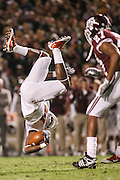 November 26, 2009; College Station, TX USA; Texas Longhorns tight end Foster Vimont (84) flips against the Texas A&M Aggies in the first half at Kyle Field. Mandatory Credit: Thomas Campbell-US PRESSWIRE