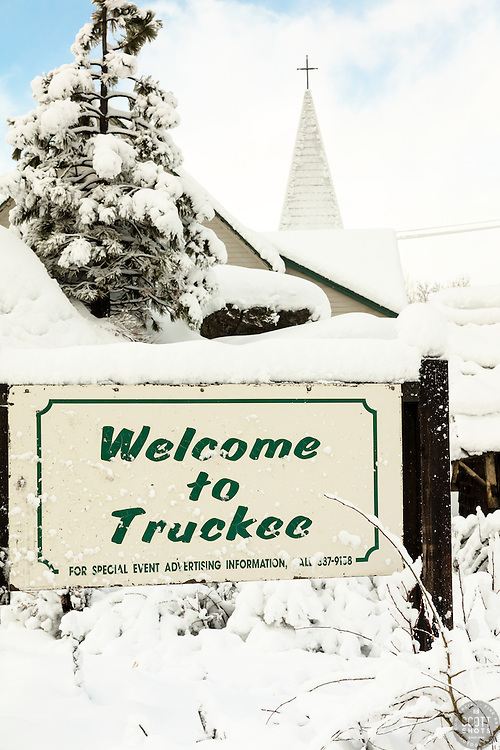 """Welcome to Snowy Truckee 2"" - Photograph of a snowy Welcome to Truckee sign, shot in the morning after a big snow storm."
