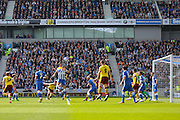 Burnley midfielder Joey Barton (13) heads at goal during the Sky Bet Championship match between Brighton and Hove Albion and Burnley at the American Express Community Stadium, Brighton and Hove, England on 2 April 2016. Photo by Phil Duncan.