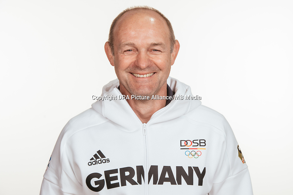 Dr. Rene Damschke poses at a photocall during the preparations for the Olympic Games in Rio at the Emmich Cambrai Barracks in Hanover, Germany, taken on 12/07/16 | usage worldwide