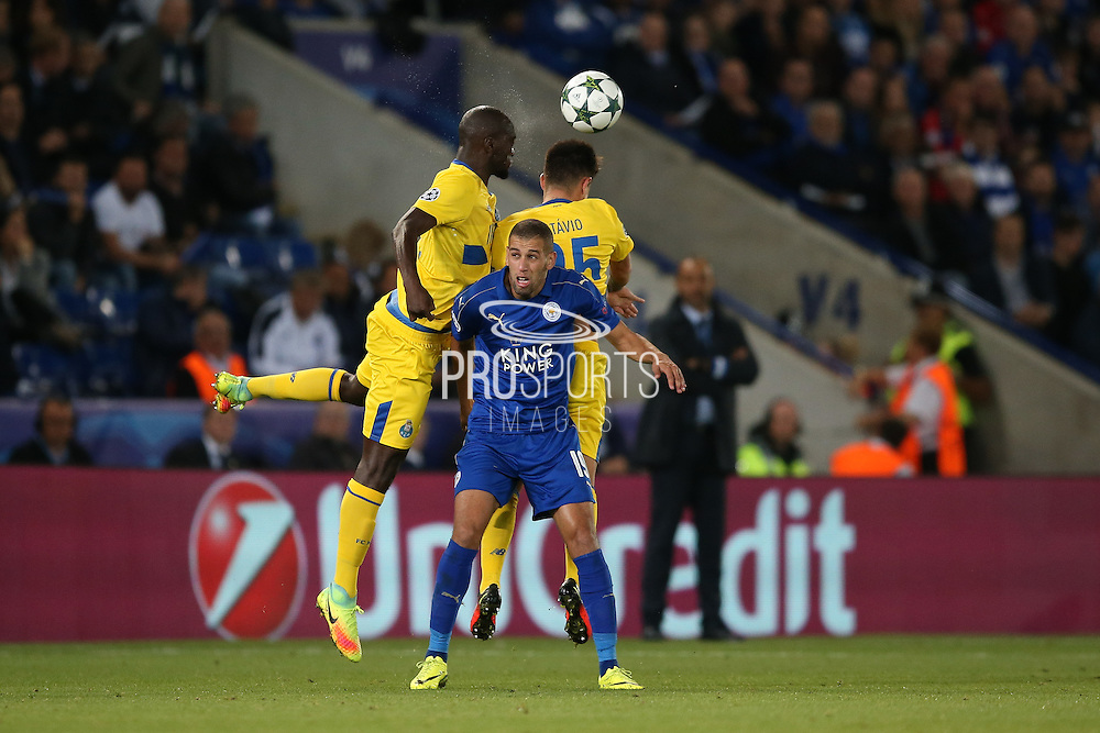Leicester City forward Islam Slimani (19) is crowded out  during the Champions League match between Leicester City and FC Porto at the King Power Stadium, Leicester, England on 27 September 2016. Photo by Simon Davies.