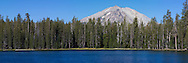 Mt. Lassen peeks above the trees along the western shore of Summit Lake, Lassen National Park