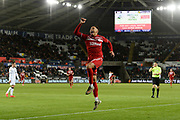 Goal - Marcus Tavernier (7) of Middlesbrough celebrates after he scores a goal to make the score 1-1 during the EFL Sky Bet Championship match between Swansea City and Middlesbrough at the Liberty Stadium, Swansea, Wales on 14 December 2019.