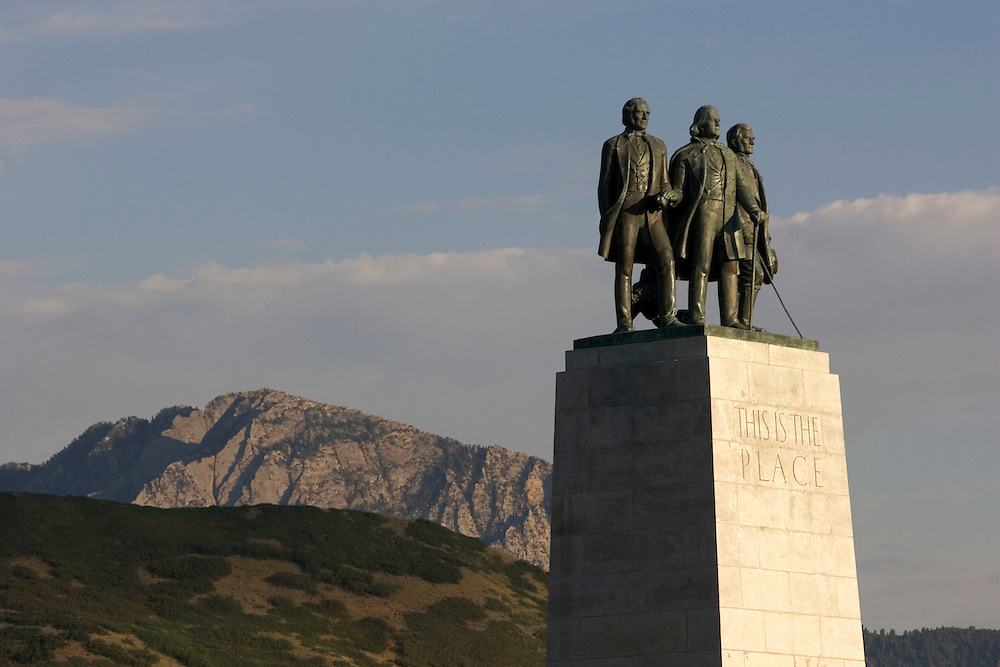 This is the Place monument in Salt Lake City, Utah which regarded as the place were early pioneer and Mormon leader Brigham Young stopped his wagon to say this is the place where the Mormon pioneers were to settle. This is the monument placed at that site. Photo taken August 8, 2005.. Photo by August Miller