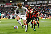 Marouane Fellaini (27) of Manchester United battles for possession with Max Gradel (10) of AFC Bournemouth during the Premier League match between Bournemouth and Manchester United at the Vitality Stadium, Bournemouth, England on 18 April 2018. Picture by Graham Hunt.