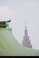 Modern Skyscraper Behind Traditional Roof of Meiji Shrine