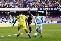 April 8, 2018 - Napoli, Napoli, Italy - Naples - Italy 08/04/2018.LORENZO INSIGNE of S.S.C. NAPOLI and BASTIEN SAMUEL of CHIEVO VERONA  during SERIE A  match between S.S.C. NAPOLI and CHIEVO VERONA   at Stadio San Paolo of Naples. .Final scores S.S.C. NAPOLI -CHIEVO VERONA 2-1  (Credit Image: © Emanuele Sessa/Pacific Press via ZUMA Wire)