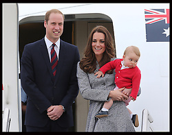The Duke and Duchess of Cambridge and Prince George leaving  Canberra airport in Australia at the end of their Royal Tour , Friday, 25th April 2014. Picture by Stephen Lock / i-Images