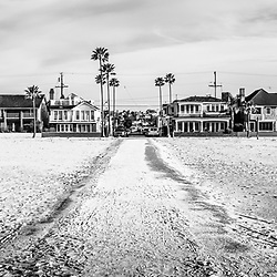 Newport Beach panorama at 11th Street and Balboa Blvd on Balboa Peninsula. Panoramic photo ratio is 1:3 and image is black and white. Newport Beach is an affluent coastal city in Orange County Southern California.
