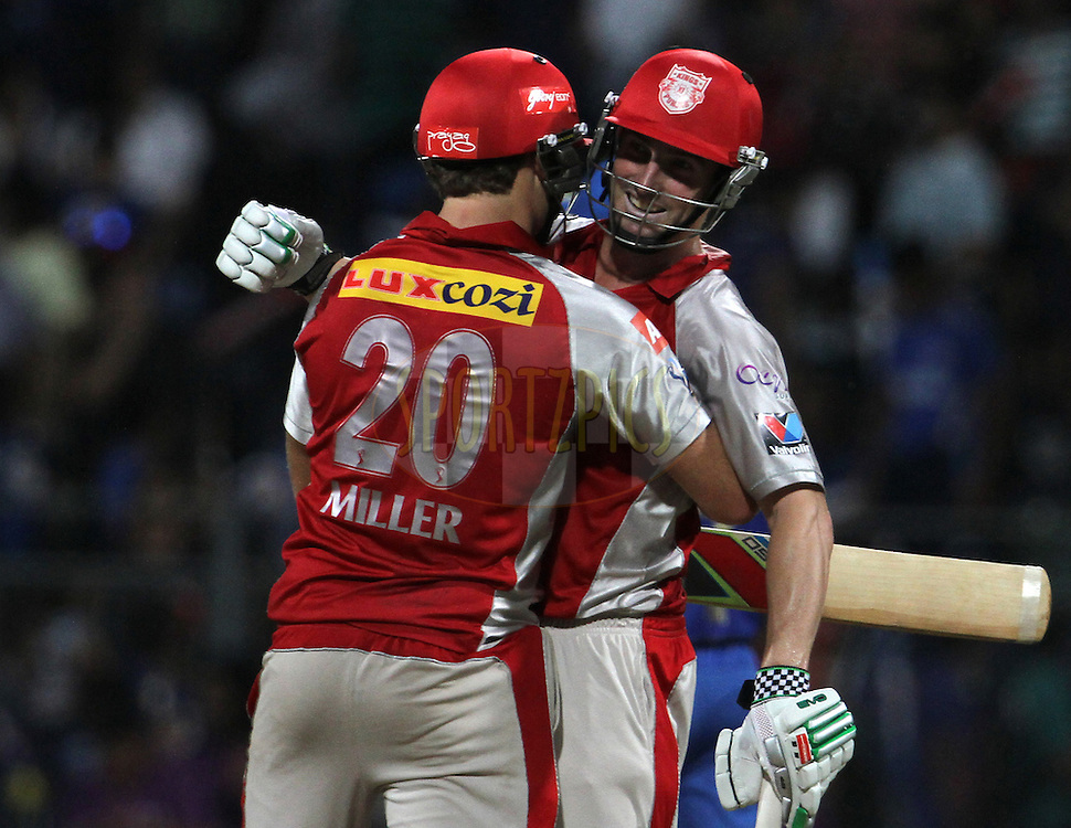 Kings XI Punjab player Shaun Marsh and Kings XI Punjab player celebrates after winning the match 28 of the Indian Premier League ( IPL) 2012  between The Mumbai Indians and the Kings X1 Punjab held at the Wankhede Stadium in Mumbai on the 22nd April 2012..Photo by: Vipin Pawar/IPL/SPORTZPICS
