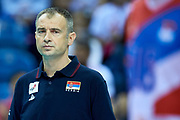 Poland, Krakow - 2017 September 03: Nikola Grbic head coach of Serbia looks forward while Third Place match between Belgium and Serbia during LOTTO EUROVOLLEY POLAND 2017 - European Championships in volleyball  at Tauron Arena on September 03, 2017 in Krakow, Poland.<br /> <br /> Mandatory credit:<br /> Photo by &copy; Adam Nurkiewicz<br /> <br /> Adam Nurkiewicz declares that he has no rights to the image of people at the photographs of his authorship.<br /> <br /> Picture also available in RAW (NEF) or TIFF format on special request.<br /> <br /> Any editorial, commercial or promotional use requires written permission from the author of image.