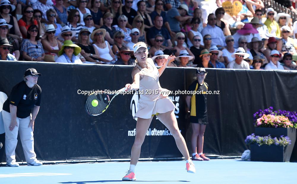 Denmark's Caroline Wozniacki in action on Finals day at the ASB Classic WTA International. ASB Tennis Centre, Auckland, New Zealand. Saturday 10 January 2015. Copyright photo: Andrew Cornaga/www.photosport.co.nz
