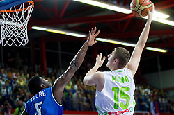 Mohamed Toure of Italy vs Gezim Morina of Slovenia during basketball match between National team of Slovenia and Italy in First Round of U20 Men European Championship Slovenia 2012, on July 12, 2012 in Domzale, Slovenia.  Slovenia defeated Italy 81-68. (Photo by Vid Ponikvar / Sportida.com)