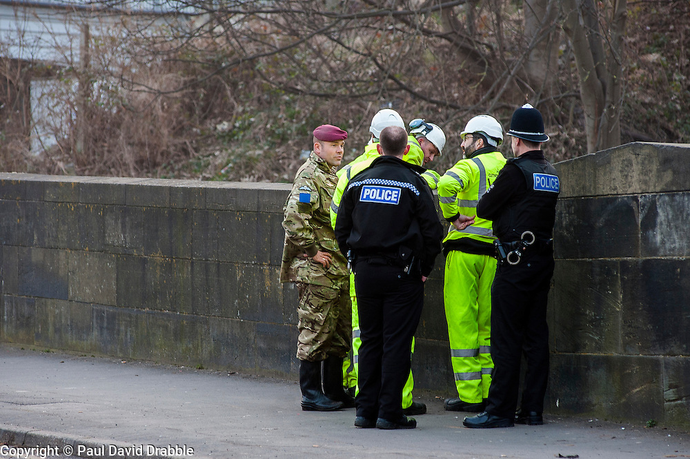 The British Army Bomb Squad were called in and police closed Leppings lane a road behind Sheffield Wednesday Football Ground on Tuesday march 5th 2017. Council workers carrying out clearance work on the Banks of the River Don discovered what they believed might be an unexploded second world war bomb dropped on the city during the Bitz<br />