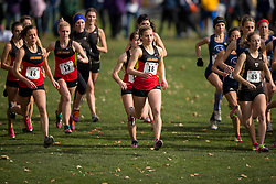 Alana Skocdopole of the Calgary Dinos runs in the women's  6K Dash at the 2013 CIS Cross Country Championships in London Ontario, Saturday,  November 9, 2013.<br /> Mundo Sport Images/ Geoff Robins