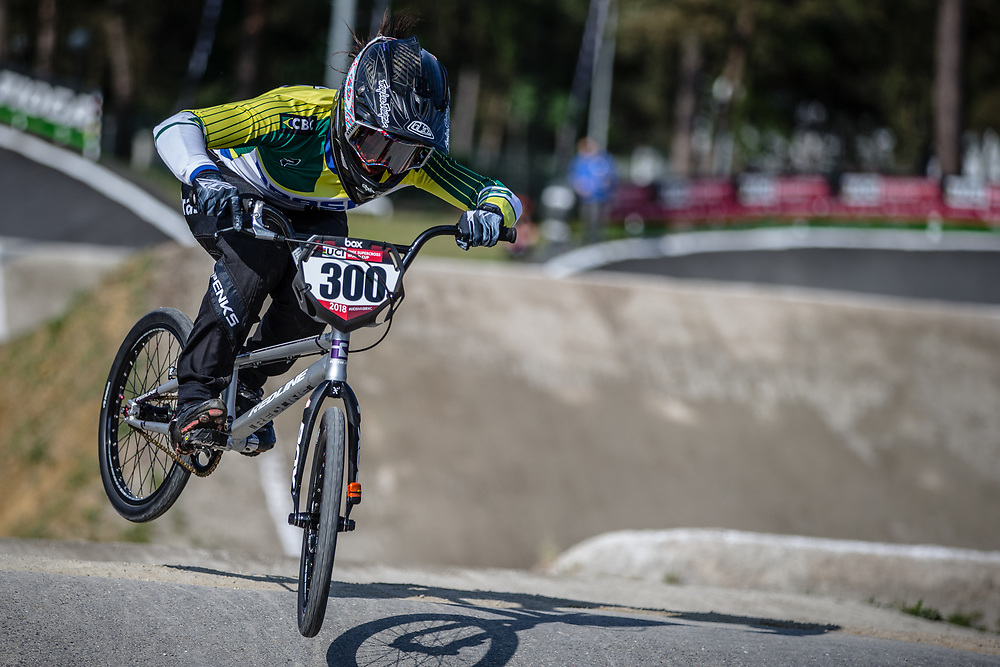 #300 (ALVES DOS SANTOS Julia) BRA during practice at Round 5 of the 2018 UCI BMX Superscross World Cup in Zolder, Belgium