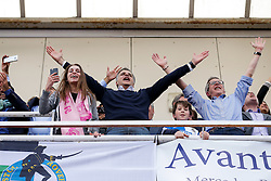 Club President Wael Al Qadi celebrates after Bristol Rovers win the match in injury time to secure 3rd place in League 2, back to back promotions and a place in Sky Bet League 1 for 2016/17 - Mandatory byline: Rogan Thomson/JMP - 08/03/2016 - FOOTBALL - Memorial Stadium - Bristol, England - Bristol Rovers v Dagenham & Redbridge - Sky Bet League 2.