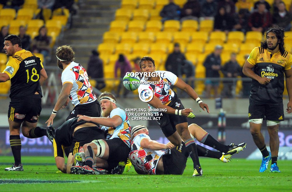 Kevin Luiters passes from a ruck during the Super Rugby match between the Hurricanes and Southern Kings at Westpac Stadium, Wellington, New Zealand on Friday, 25 March 2016. Photo: Dave Lintott / lintottphoto.co.nz