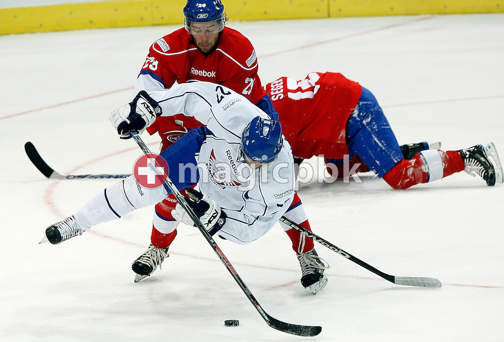 Linkoepings HC forward Jan Hlavac, front, is being attacked by ZSC Lions defensman Beat Forster during the ice hockey Campions League preliminary round group D game 20 between ZSC Lions of Switzerland and Linkoepings HC of Sweden held at the Hallenstadion in Zurich, Switzerland, Wednesday, November 19, 2008. (Photo by Patrick B. Kraemer / MAGICPBK)