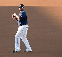 New Hampshire Fisher Cats first baseman Mike McDade gets into position for Saturday's game with the Portland Sea Dogs.  (Karen Bobotas/for the Concord Monitor)