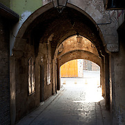 Lantern and arches of passageway in Aleppo, Syria in the ear