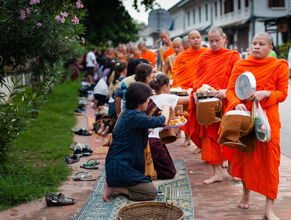 Buddhist monks receiving daily alms at dawn in Luang Prabang (Laos).